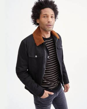 7 For All Mankind Shearling Denim Trucker Jacket in Black