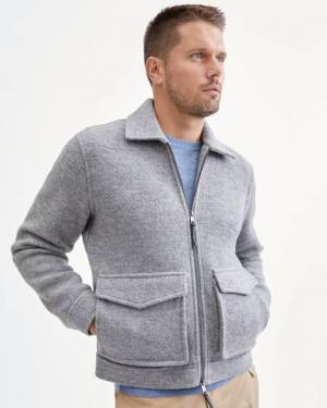 7 For All Mankind Boiled Wool Flight Jacket in Heather Grey