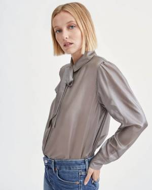 7 For All Mankind Neck Tie Blouse in Silver