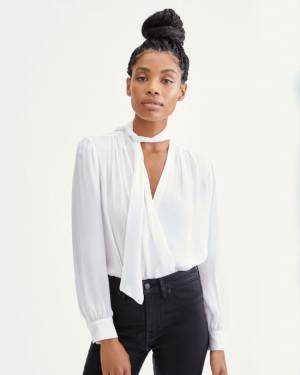 7 For All Mankind Tie Neck Twist Front Blouse in Optic White