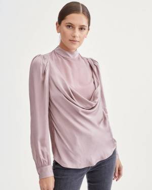 7 For All Mankind Cowl Neck Blouse in Rose Quartz