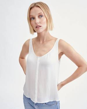 7 For All Mankind Button Through Tank Top in Soft White