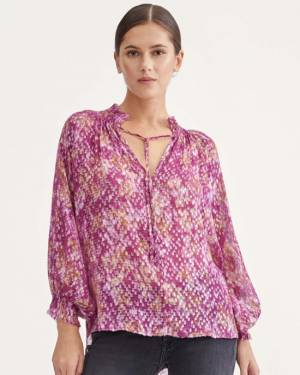 7 For All Mankind Smock Drop Neck Top in Wine Berry