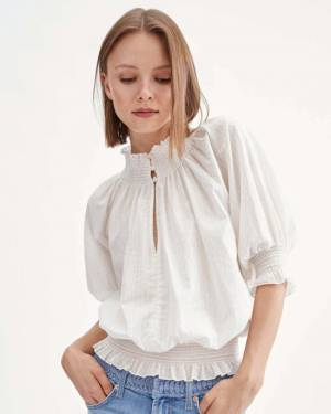 7 For All Mankind Smock Top in Ivory