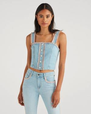 7 For All Mankind Bustier in Sky High Blue