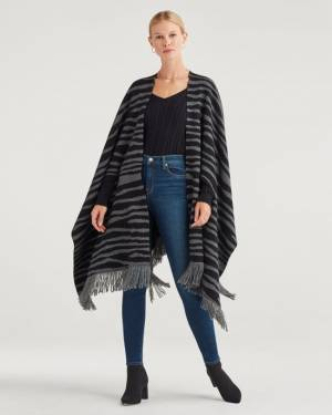 7 For All Mankind Fringe Edge Zebra Wrap