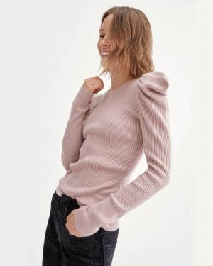 7 For All Mankind Long Sleeve Puff Shoulder Crewneck in Smokey Rose
