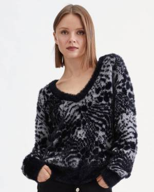 7 For All Mankind Animal Jacquard Sweater in Black