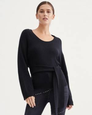 7 For All Mankind Touch of Cashmere Tie Waist Sweater in Jet Black