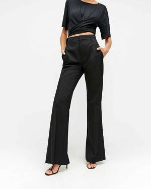 7 For All Mankind Bootcut Trouser with Back Slit in Jet Black