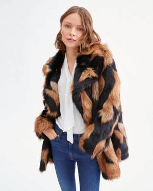 7 For All Mankind Chevron Fur Coat in Brown Black