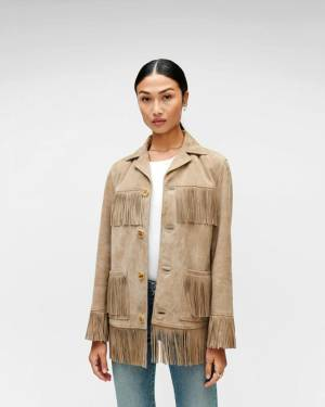 7 For All Mankind Fringe Suede Jacket in Beige