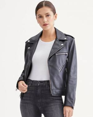 7 For All Mankind 7 Zipper Moto Jacket in Jet Black