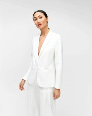 7 For All Mankind Classic Blazer in Optic White