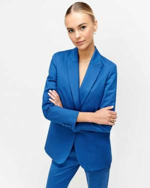 7 For All Mankind Boyfriend Blazer in Electric Blue