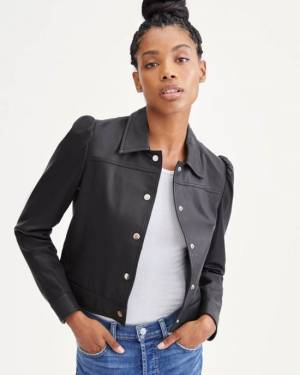 7 For All Mankind Shrunken Puff Sleeve Leather Jacket in Jet Black