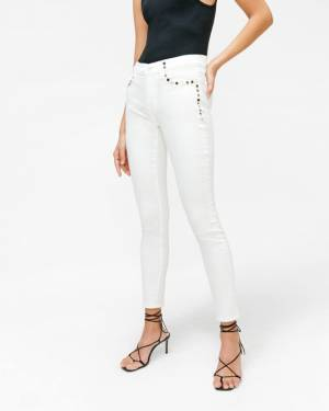 7 For All Mankind The Skinny with Studs in Clean White