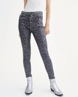 7 For All Mankind High Waist Skinny in Foil Snow Leopard