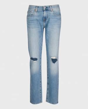 7 For All Mankind Low Straight with Distressing in Rose Avenue