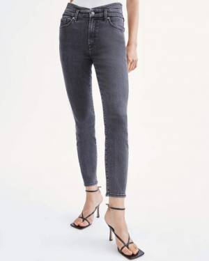 7 For All Mankind High Waist Cumberbund Skinny in Trixie Black