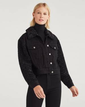 7 For All Mankind Jacket with Removable Faux Fur Collar in Overdyed Black