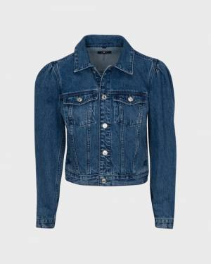 7 For All Mankind Puff Sleeve Jean Jacket in Chambers