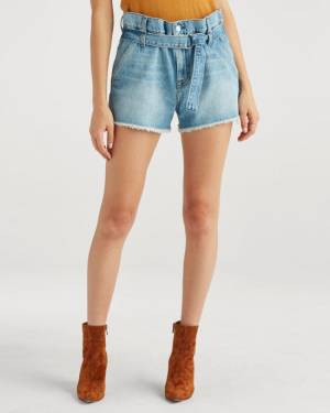 7 For All Mankind Paperbag Short in Prairie Sky