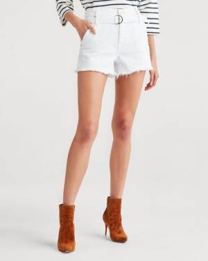 7 For All Mankind Half Belted Paperbag Short in Optic White
