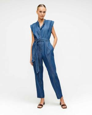 7 For All Mankind Cuffed Sleeve Jumpsuit in Pacific Street