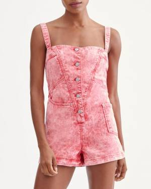 7 For All Mankind Asymmetric Pocket Romper in Acid Red