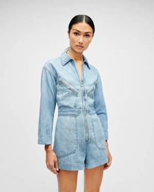 7 For All Mankind Zip Front Romper in Wilshire Blvd