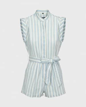 7 For All Mankind Cuffed Sleeve Button Up Romper In Wythe Ave