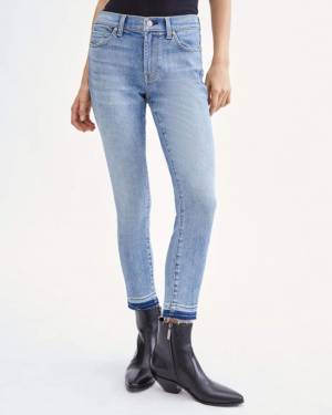 7 For All Mankind Luxe Vintage Cropped Skinny with Let Down Hem in Beau Blue