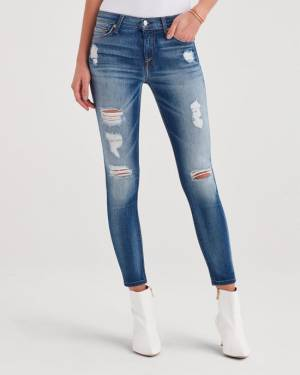 7 For All Mankind Ankle Skinny With Destroy in Distressed Light