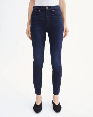 7 For All Mankind B(air) High Waist Ankle Skinny in Blue Black River Thames