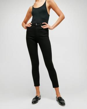 7 For All Mankind B(air) High Waist Ankle Skinny in Black