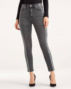 7 For All Mankind High Waist Ankle Skinny with Metallic Glitter Tux Stripe in Washed Black