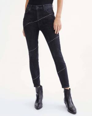 7 For All Mankind Studded High Waist Ankle Skinny in Washed Black