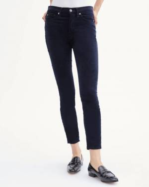 7 For All Mankind Velvet High Waist Ankle Skinny in Navy