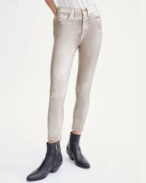 7 For All Mankind High Waist Velvet Ankle Skinny in Metallic Gold