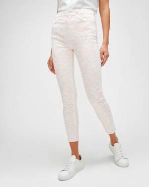 7 For All Mankind High Waist Ankle Skinny in Pink & White Abstract