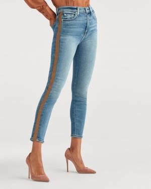 7 For All Mankind Luxe Vintage High Waist Ankle Skinny with Bronze Lurex Stripe in Muse