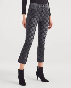 7 For All Mankind Luxe Vintage High Waist Slim Kick with Lattice Aplique in Coal