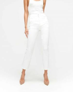 7 For All Mankind Slim Illusion High Waist Slim Kick in Luxe White