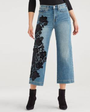 7 For All Mankind Cropped Alexa with Couture Floral Aplique in Telluride