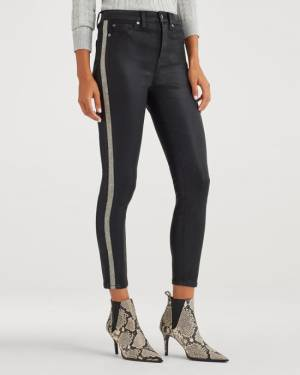 7 For All Mankind B(air) High Waist Ankle Skinny with White Snake Side Stripe in Coated Black