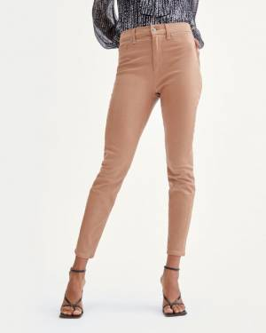 7 For All Mankind Coated High Waist Ankle Skinny in Penny