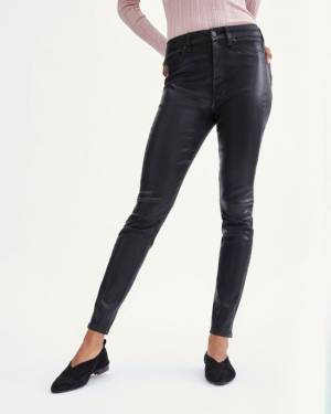 7 For All Mankind Coated B(air) High Waist Ankle Skinny with Faux Pockets in Black