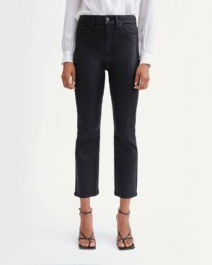7 For All Mankind Coated High Waist Slim Kick with Faux Pockets in Black