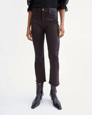 7 For All Mankind Coated High Waist Slim Kick with Faux Pockets in Mocha